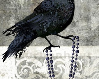 art print- Castle Crow- digital painting with original photos processed at PS
