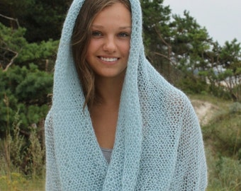 Soft fluffy cowl in sea blue