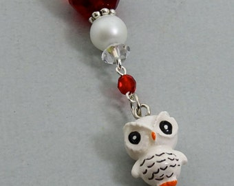 Owl Bookmark, White Snow Owl Charm Beaded Bookmark, Animal Charm Bookmark, Bookmarkers Teacher Gift Idea, Stocking Stuffers Gift for Readers