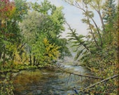 "Original Oil Painting River Landscape Audet Appalachian Canada "" That Morning, Massawipi River, Capelton road, North Hatley, Qc, Canada """