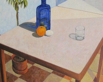 "Art Original Large Oil Painting Still Life Table Minimalist Glass Bottle Mirror Quebec Canada By Jacques Audet "" Correspondences "" 24"" x 30"""
