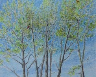 """Art & Collectibles Original Oil Pastel Landscape Drawing Tree Blue Sky Bird Quebec Canada By Jacques Audet """" An Hymn to Spring """" 22 x 24"""