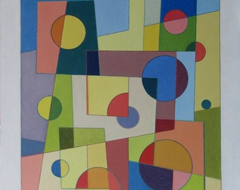 """Art & Collectibles Original Oil Painting Abstract Modern Colour Circle Forms Geometric Quebec Canada By Jacques Audet """" Light Geometry """""""