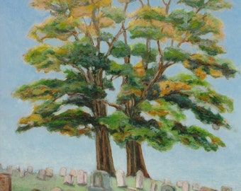 "Art Oil Pastel Drawing Original Tree Landscape Cemetery Graveyard Tombstone Funeral Quebec Canada By Jacques Audet ""The Gardiens "" 16"" x 18"""