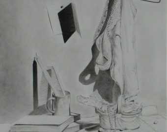 """Art & collectibles Original Black and White Graphite Still Life Drawing Lingerie Cloth Hangner Quebec Canada By Audet """"Of White and Shade """""""