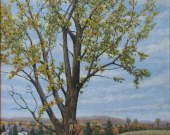 "Art Original Oil Painting Road Cow Tree Fall Landscape Appalachian Eastern Townships Quebec Canada By Audet "" A Praise To The Country Side """