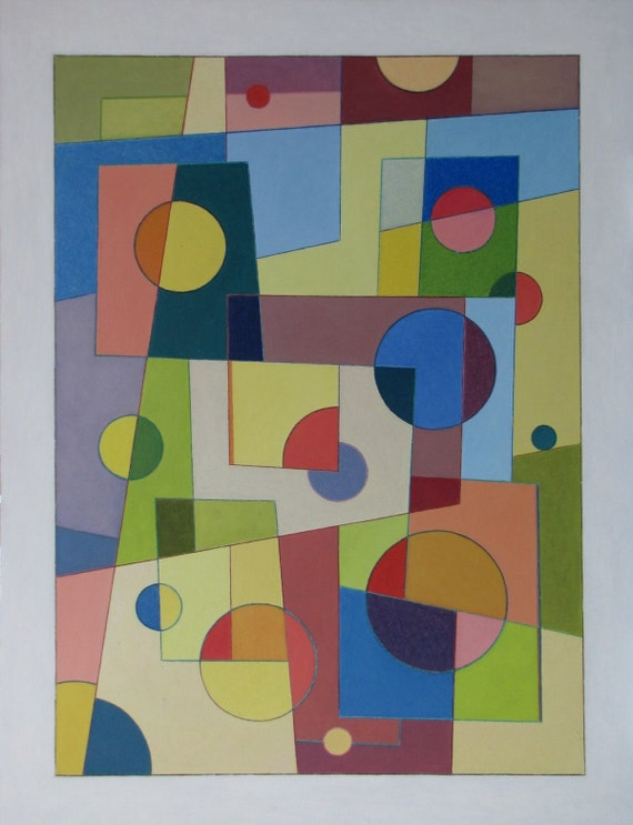 "Art & Collectibles Original Oil Painting Abstract Modern Colour Circle Forms Geometric Quebec Canada By Jacques Audet "" Light Geometry """
