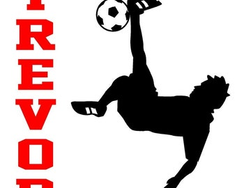 Wall Decal Personalized Soccer Player Name Children Sports Vinyl Sticker Word Art Lettering
