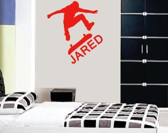 Wall Decal Personalized Name Skate Board Children Boys Vinyl Stickers Word Art Lettering Bluestreak Decals