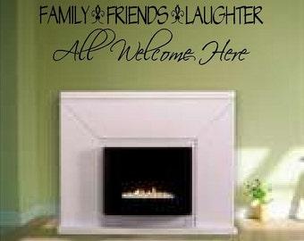 Wall Decal Vinyl Sticker Family Friends Welcome Word Art Lettering Bluestreak Decals