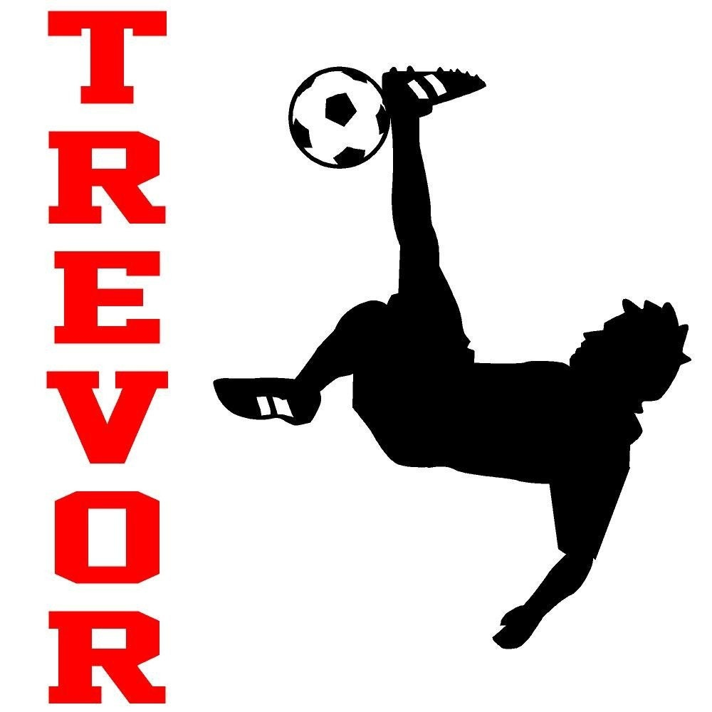 wall decal personalized soccer player name children sports