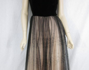 1950s Black Velvet and Tulle Prom Cocktail Dress