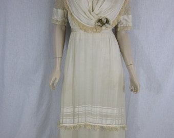 Victorian Ivory Silk Wedding Gown