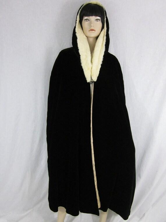 1930s Silk Velvet Black Opera Cape with Ermine Fur Hood