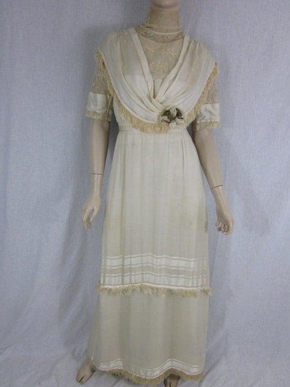 Victorian Ivory Silk Wedding Gown