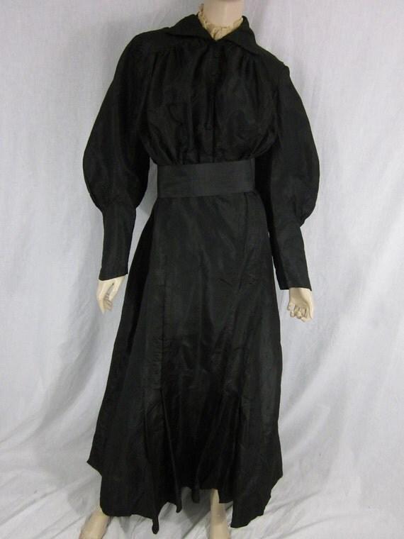 Victorian Black Taffeta Dress