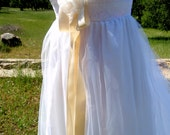 Couture Cotton, Tulle, Lace & Silk Art Nouveau Inspired Wedding Gown -- OOAK, SIZE 8-10