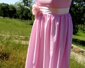 Couture Pink Cotton & Silk Bridesmaid  Dress - OOAK Size 8-10