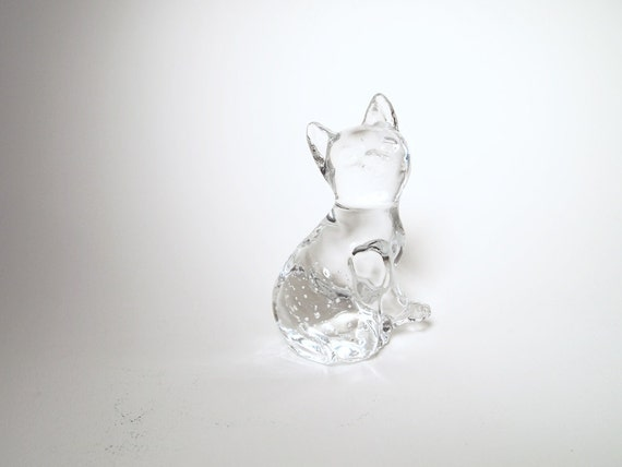 vintage Clear Glass Kitty Cat Figurine, Paper Weight, Transparent Bubbles