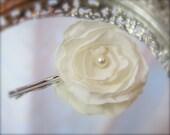 Ivory Bridal Flower, Petite Bloom Bobby, Pearl, custom colors Chiffon Fabric
