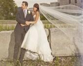 "Traditional Wedding Veil Chapel Bridal Veil, 108, 72 or 54"" wide 80"" long ivory, diamond white, champagne bridal veil cut edge long veil"