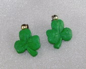 Vintage Shamrock Earrings.  Irish Green.  Clover.  Resin Plastic.