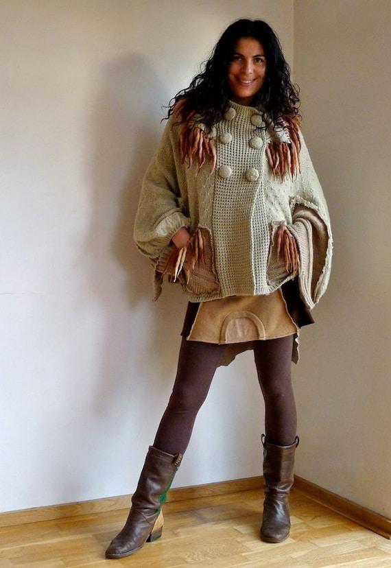 Caramel Camel Beige Upcycled Fringed Knitted Cape Poncho                    Made in England UK