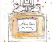 Miss Dior - Original watercolor 5x7
