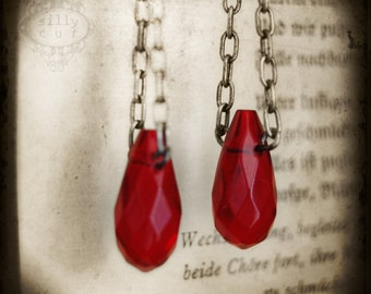 SALE - earrings - BLOOD DRIPS... - halloween, vampire, gothic, blood red dangle glass quartz drops