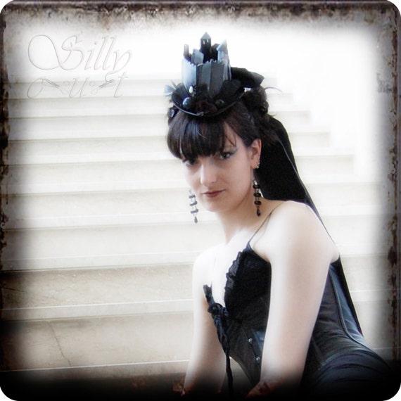 SALE - hat/mini tophat - DRACULA's Castle - halloween costume, vampire, nosferatu, gothic, victorian, dracula, FREE rushed shippingg