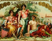 antique victorian pinup  cigar label 1905 lithograph la industria
