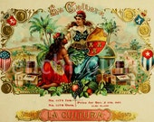 antique victorian pinups cigar box label 1905 lithograph digital download la cultura