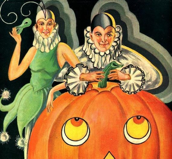 Items similar to antique art deco pumpkin halloween mardi ...