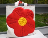 Farmers Market Bag - Natural Canvas Tote - Embroidered Red Felt Poppy - Lined Tote Bag