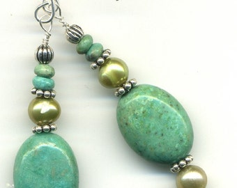 Earrings - Turquoise and Pearl Dangles
