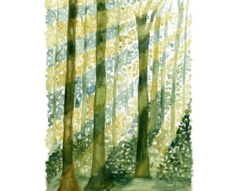 Forest Print from my original watercolor painting 8x10 inch