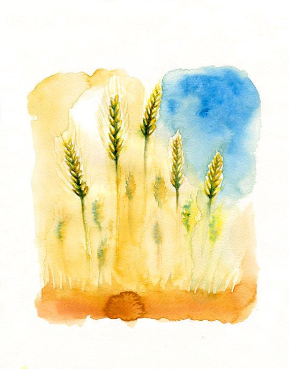 Wheat- Landscape painting-Watercolor-Archival Print from my original watercolor painting 8x10 inch