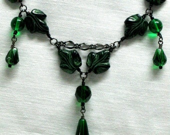Fairy Jewelry, TITANIA Handmade Necklace and Earrings, Leaf Necklace, Gothic Jewelry