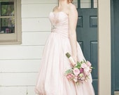 Pink Wedding Dress with High-Low Bubble Hem