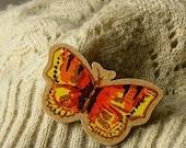 handcut orange butterfly wooden brooch