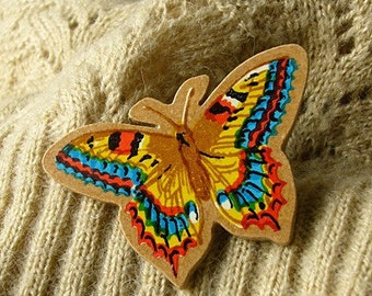SALE handcut yellow swallowtail butterfly wooden brooch