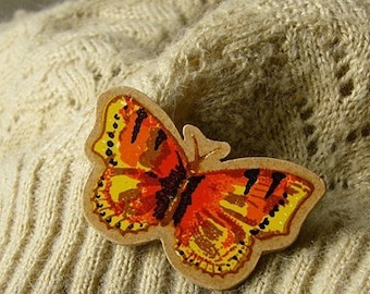 SALE handcut orange tortoiseshell butterfly wooden brooch