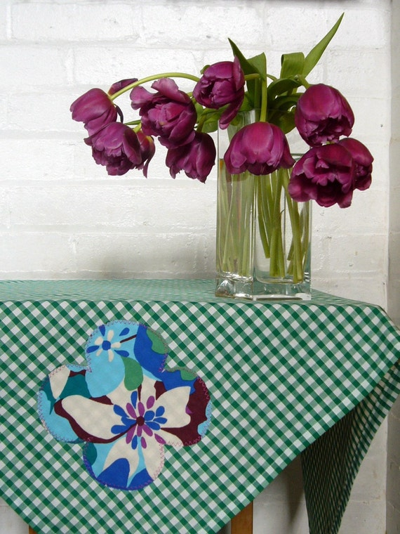 florence floral square gingham picnic tablecloth