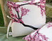 Pair of 18in Throw Pillow Covers with Hand Painted Cherry Blossoms on Eco Friendly Cotton