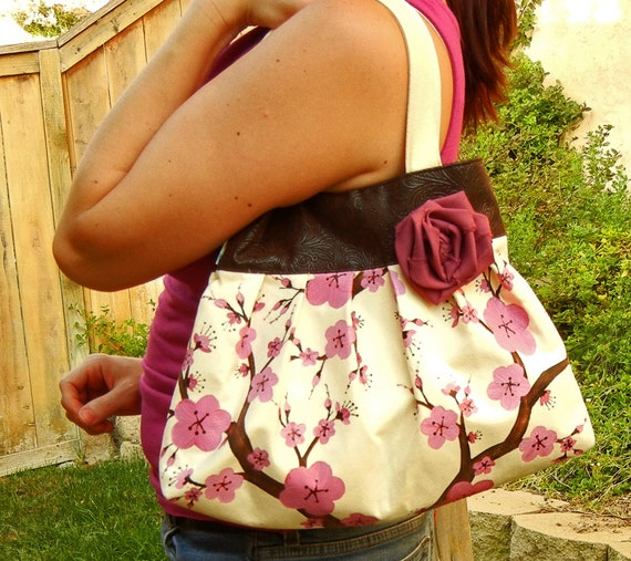 Cherry Blossom Purse with PInk Hand Painted Cherry Blossoms on Ivory Suede with Faux Leather Trim