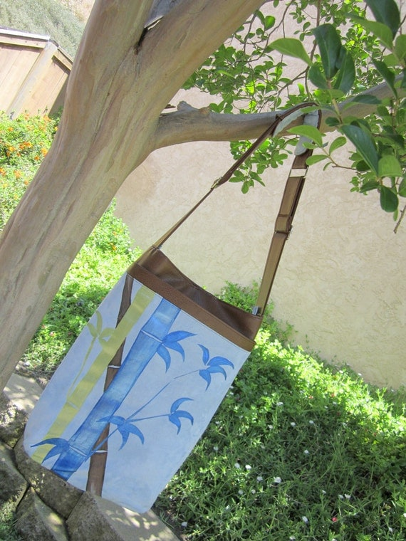 15.6 inch (40cm)Vertical Laptop Case Foam Padded  with Hand Painted Bamboo in Blue, Green and Brown