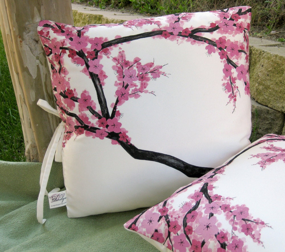Pair Of 18in Throw Pillow Covers With Hand Painted By Derilyn