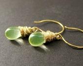 Wire Wrapped Earrings: Teardrop Earrings in Lemon Lime and Gold. Handmade Jewelry.
