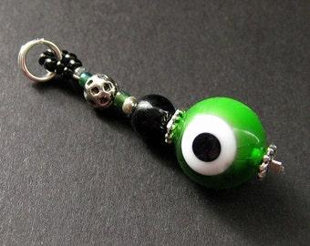 Green Eyeball Charm. Emerald Green Evil Eye Charm. Beaded Charm. Key Chain, Phone Charm, Zipper Pull or Purse Charm.
