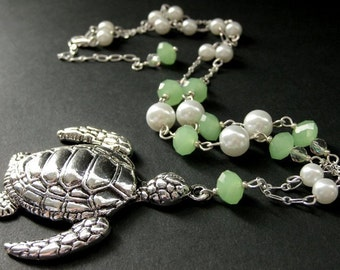 Silver Turtle Necklace. Sea Tortoise Necklace. Aqua Crystal Necklace. Sea Green Necklace. Ocean Necklace. Handmade Jewelry.